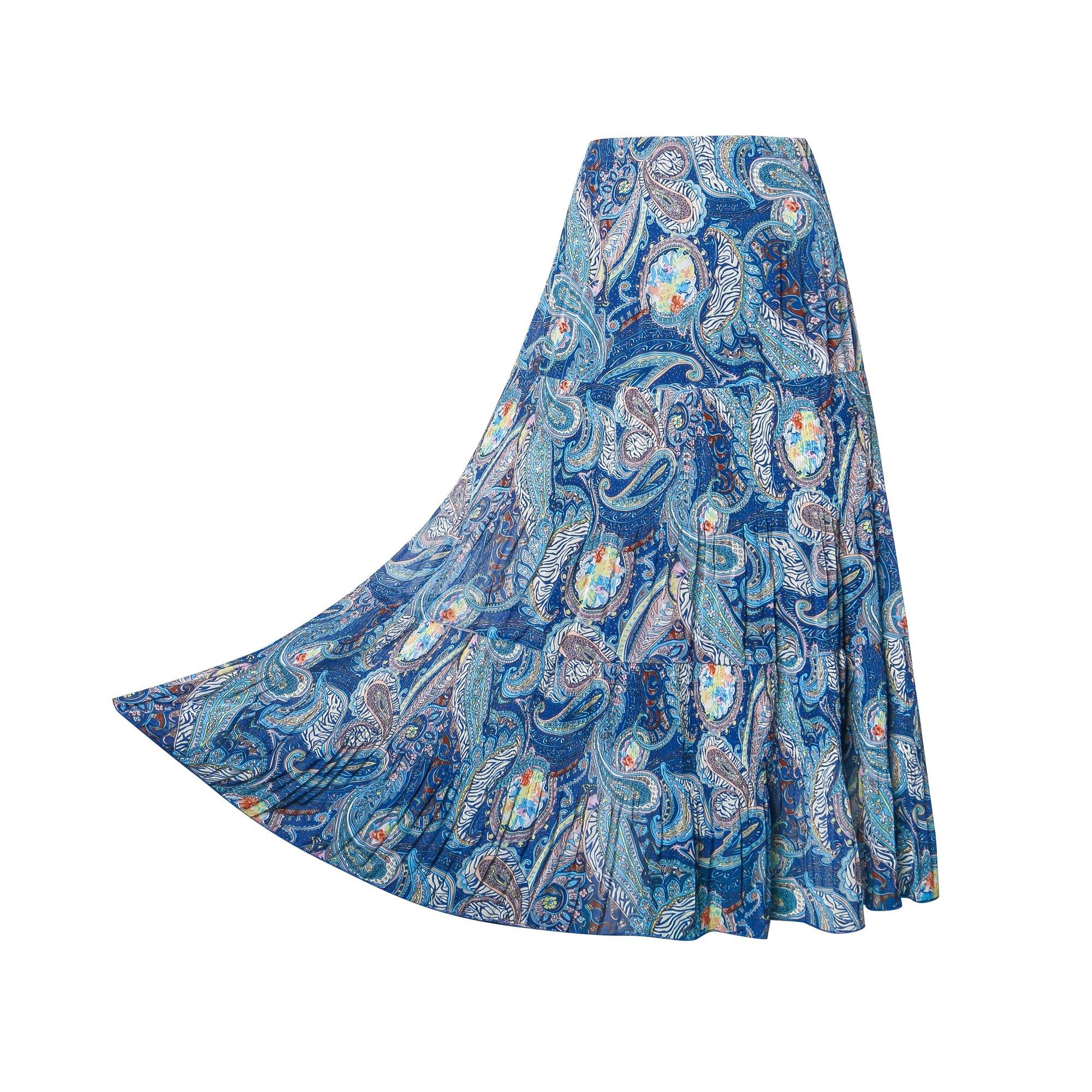 NASHALYLY Women's Print High Elastic Waist Pleated Long Skirt-Chiffon (XL)