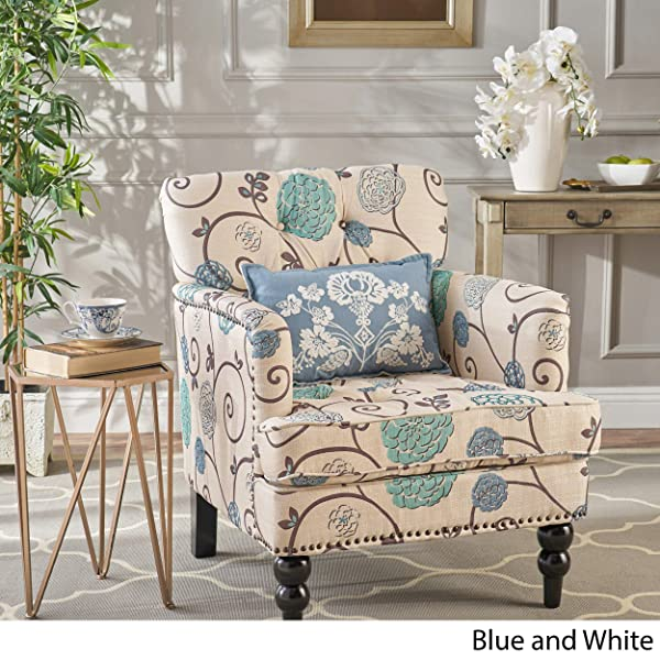 Medford | Floral Fabric Club Chair w/Nailhead Accents | in White and Blue