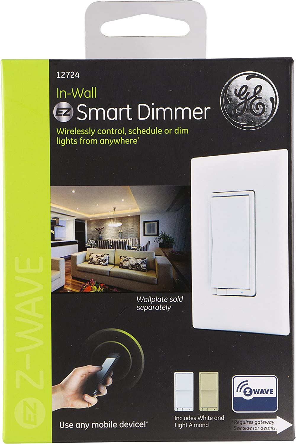 Ge Z Wave Wireless Smart Lighting Control Dimmer In Wall 3 Way Switch Cfl Includes White Light Almond Paddles 12724 Works With Alexa Switches