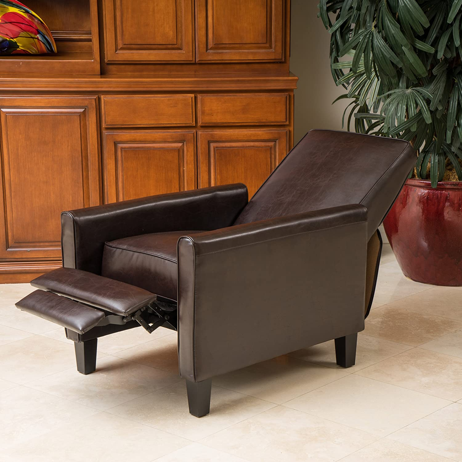 Amazon.com Lucas Brown Leather Modern Sleek Recliner Club Chair Kitchen u0026 Dining : brown leather recliner chairs - islam-shia.org