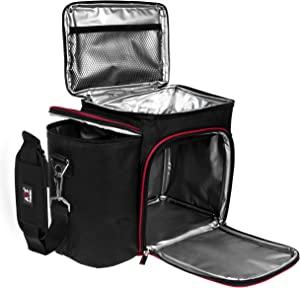 A2S Meal Prep Lunch Box - Cooler Bag - Meal Bag - Keep your Daily Food Snacks & Beverages Cool and Intact (Black/Red Bag Only)