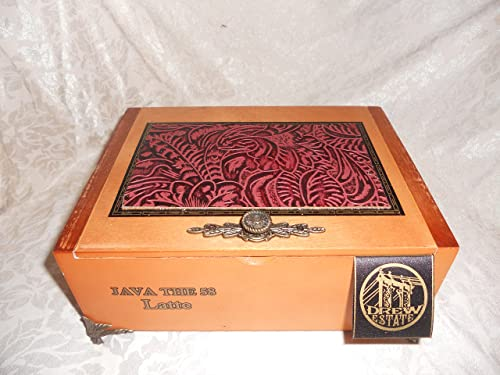 Amazon Com Mens Jewelry Box Custom Cigar Box Men S Valet Cranberry Black Tooled Western Leather Valuable Box Stash Box Authentic Cigar Box Handmade