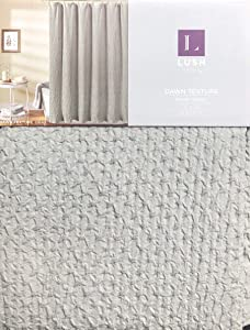 Lush Decor Fabric Shower Curtain Ruched Bubble Texture Solid Light Gray - Dawn Texture, Gray