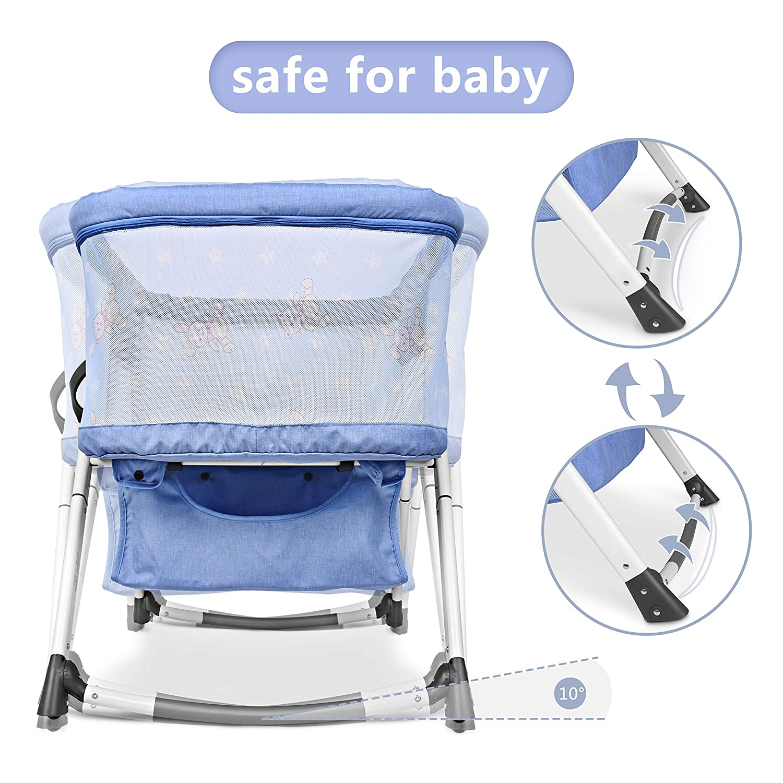 Besrey Cuna para beb/é Cunas 2 en 1 Cunas de viaje Cunas plegables Azul