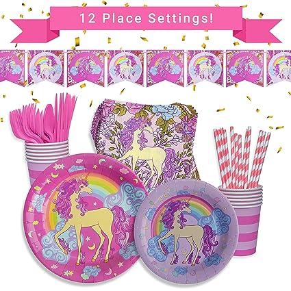 Amazon.com: Unicornio fiesta de cumpleaños suministros y ...