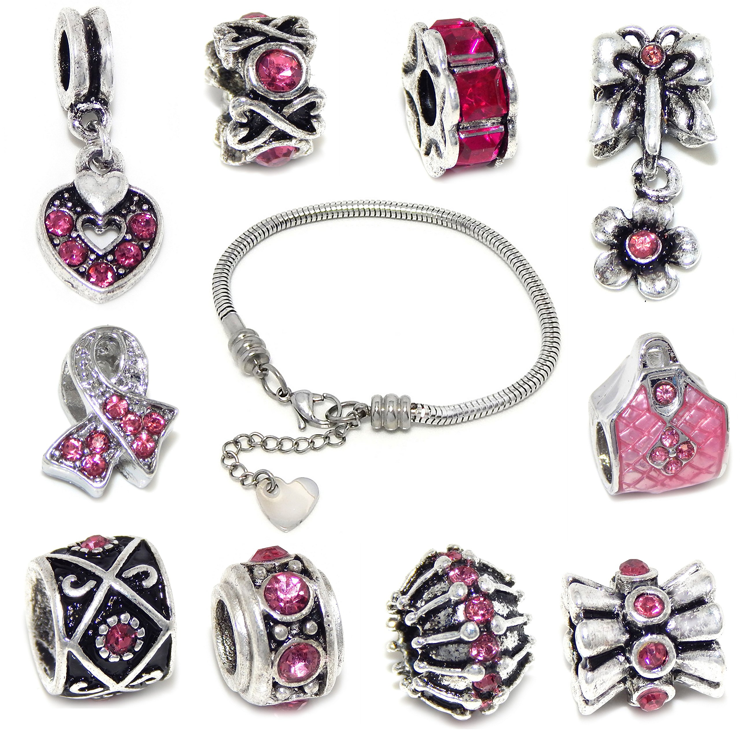 Stainless Steel Starter Charm Bracelet + FREE 10 Silver Plated with Pink Crystals Charms (7 Inch)