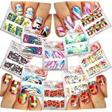 Nail Art Water Slide Tattoo Decals ♥ Full-Cover ♥ Peacock / Pecan / Poppy Flowers / Water Lily / Abstract Patterns, etc. 10 - pack ♥ For Nail Art /CXI/