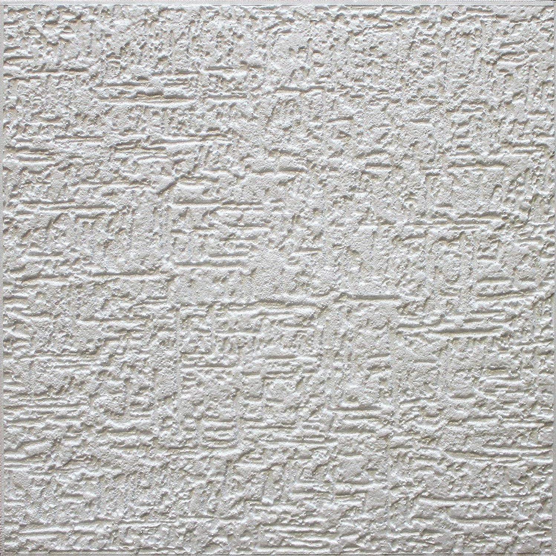 Azulejos de techo de poliestireno Putz ( paquete de 96 pc / 24 metros cuadrados) Blanco Marbret