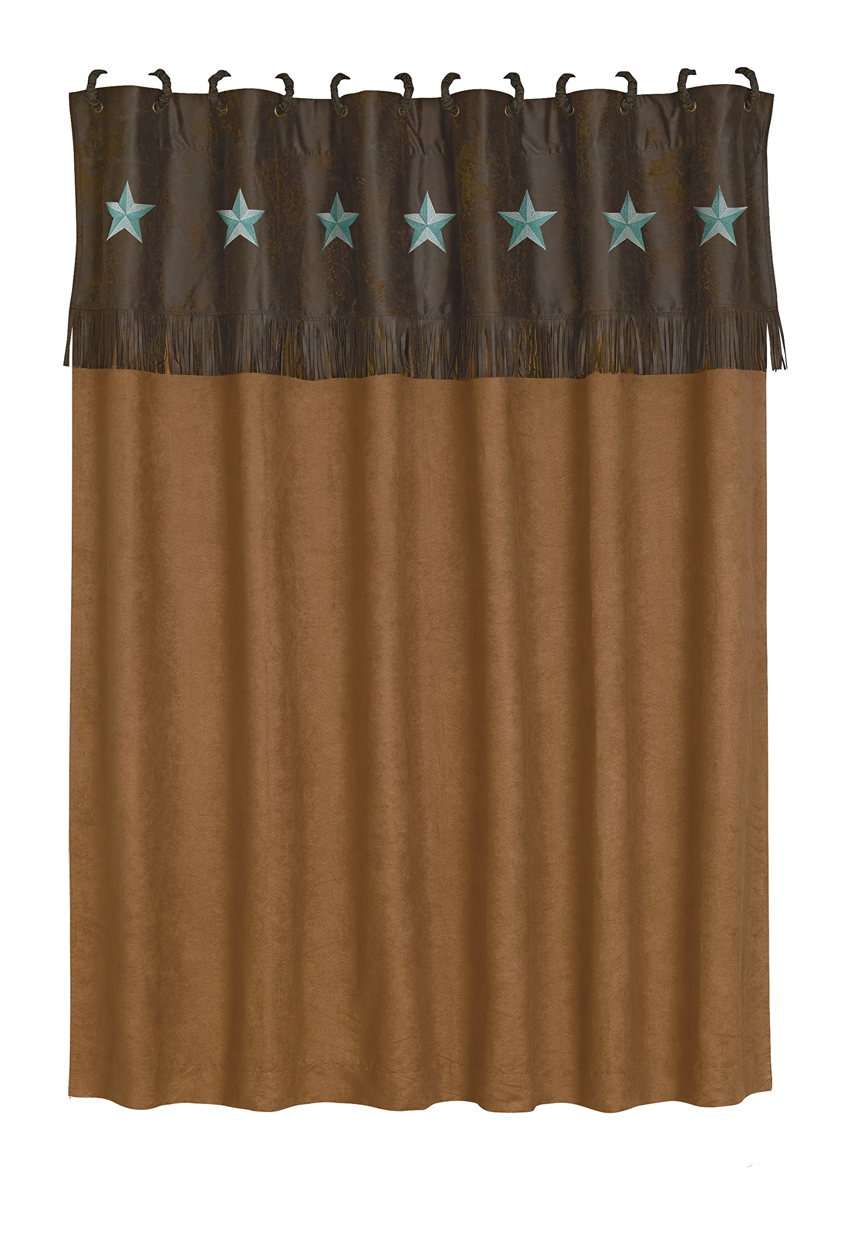 HiEnd Accents Laredo Western Shower Curtain, 72 x 72, Turquoise