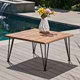 Great Deal Furniture Zach Outdoor Industrial Teak Finish Acacia Wood Coffee Table with Rustic Metal Finish Iron Frame