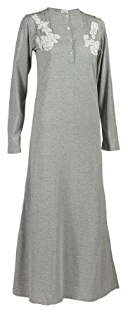 4d412275bc La Canarie Womens Cotton Nightgown - Ankle Length Sleepwear Pajama For  Ladies and Girls Georgia Gray