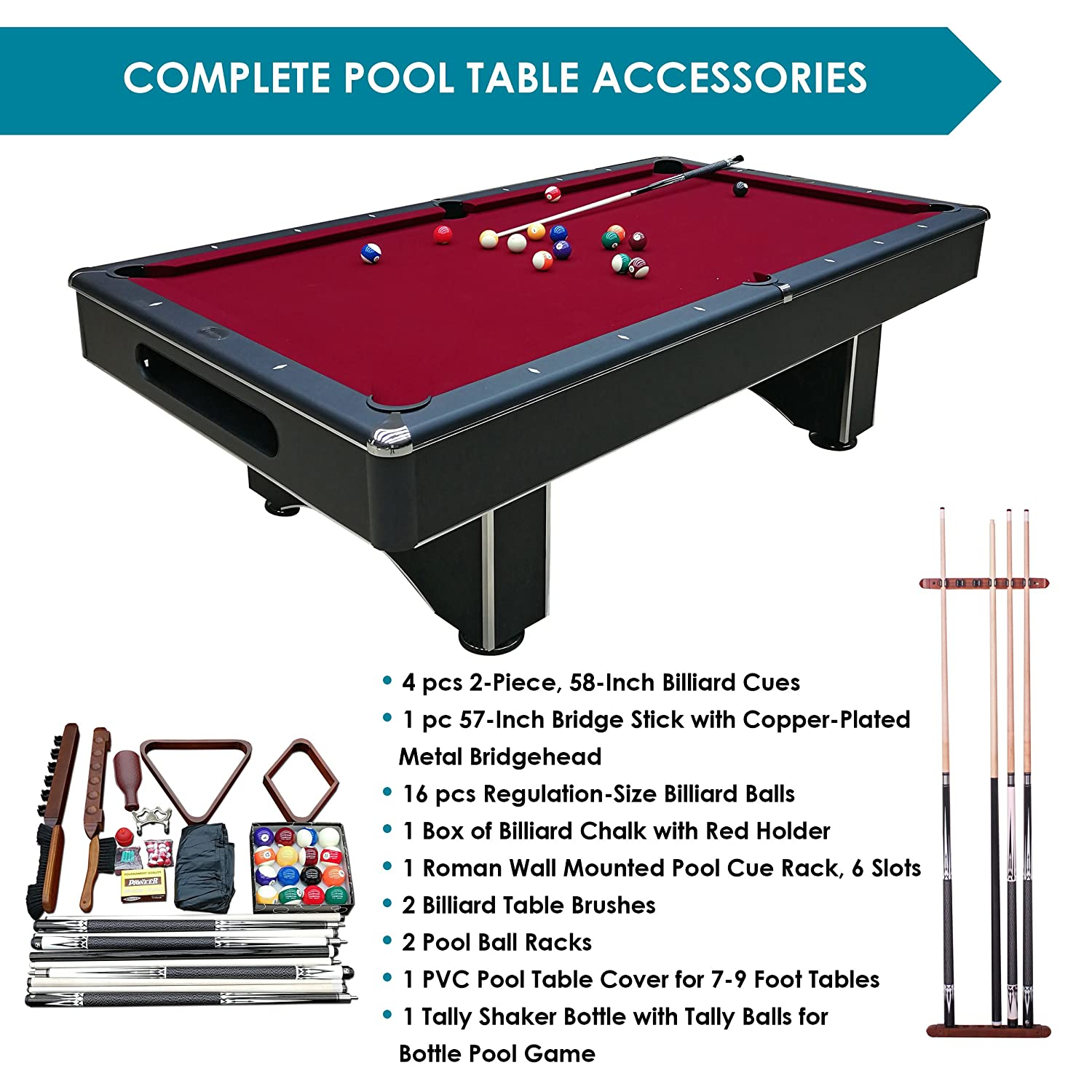 Amazon.com : Harvil Galaxy Slate Pool Table 8 Foot With Red Felt By  Includes On Site Delivery, Professional Installation And Accessories :  Sports U0026 Outdoors
