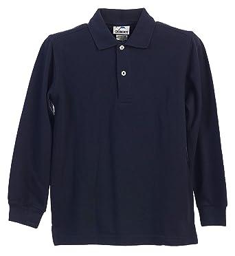 Big Boys Niñas Azul Marino de Manga Larga Polo de uniforme escolar ...