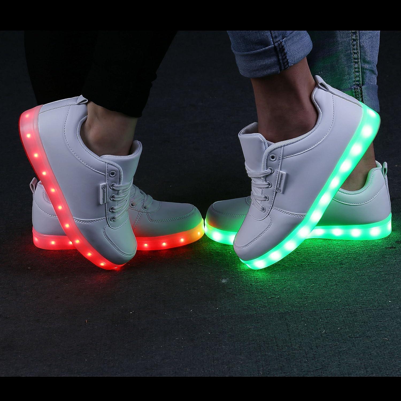 Shinmax LED Schuhe CE-Zertifikat, 7 Farbe USB Aufladen LED Sport Leuchtend Sport LED Schuhe Sportschuhe LED Sneaker Turnschuhe für Unisex-Erwachsene Herren Damen Schwarz2 0e11f5