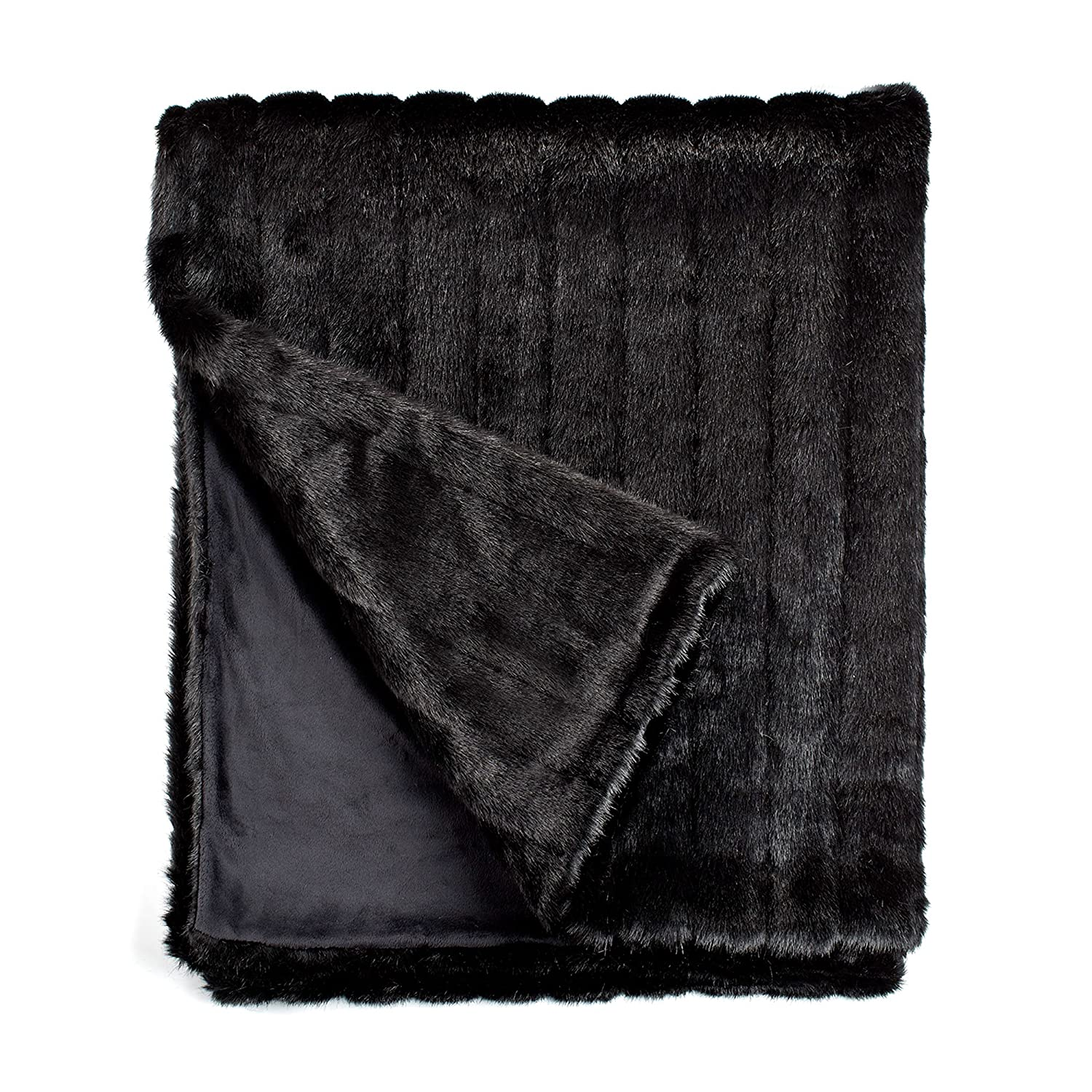 "Fabulous Furs: Faux Fur Luxury Throw Blanket, Black Mink, Available in generous sizes 60""x60"", 60""x72"" and 60""x86"", by Donna Salyers"