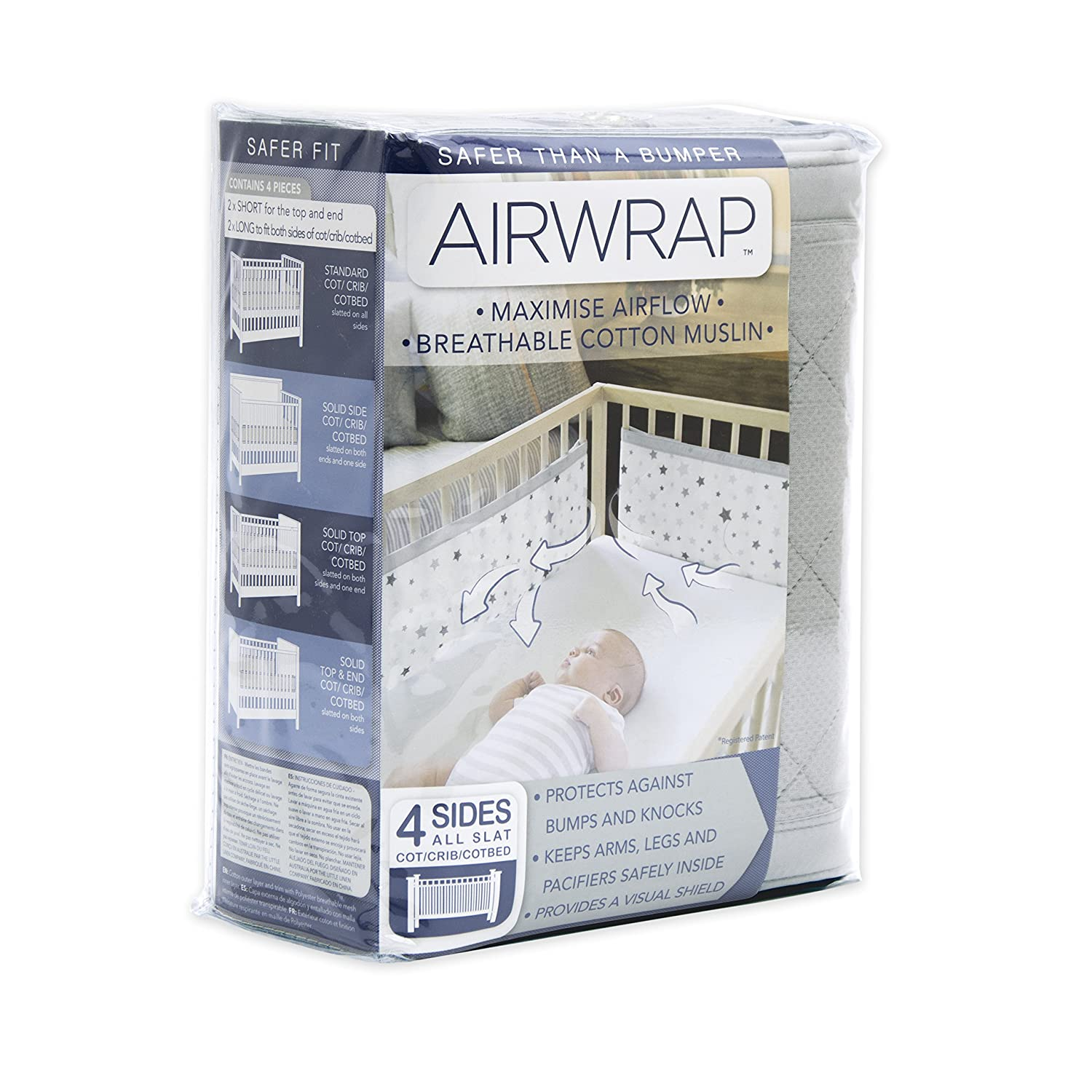Airwrap 4 Sided Breathable Cot Bumper Alternative Silver The Little linen Company 17-46-004