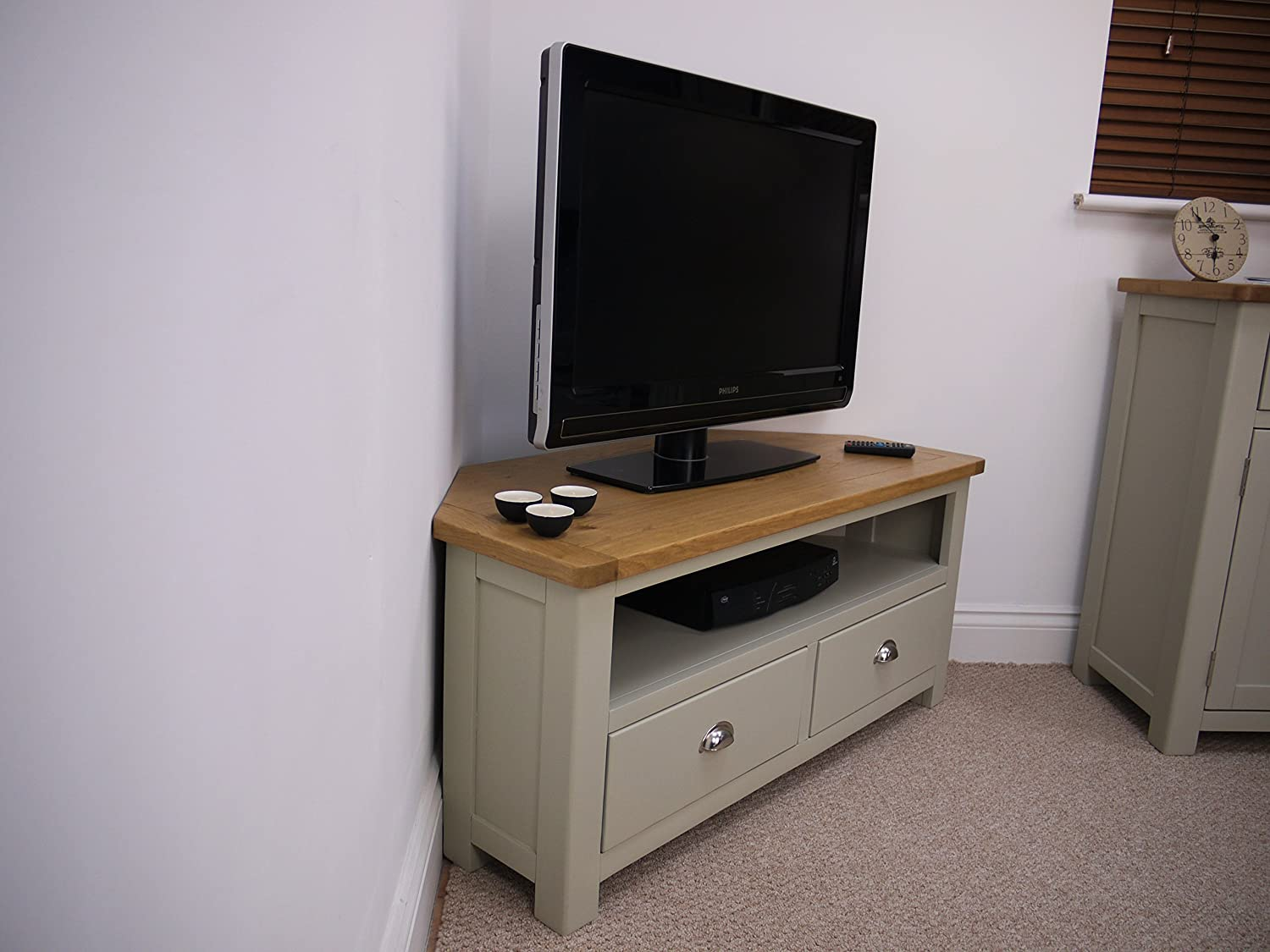 Aspen Painted Oak Sage Grey Corner TV Plasma DVD Video Stand / TV ...