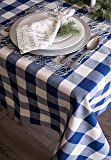 """DII Cotton Buffalo Check Plaid Rectangle Tablecloth for Family Dinners or Gatherings, Indoor or Outdoor Parties, & Everyday Use (60x104"""",  Seats 8-10 People), Navy & Cream"""