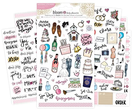 amazon com bloom daily planners wedding planning sticker sheets