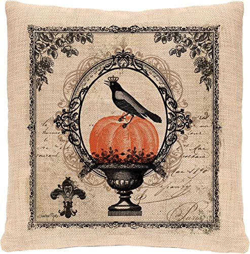 Heritage Lace Vintage Halloween Pillow, 18 by 18 , Natural