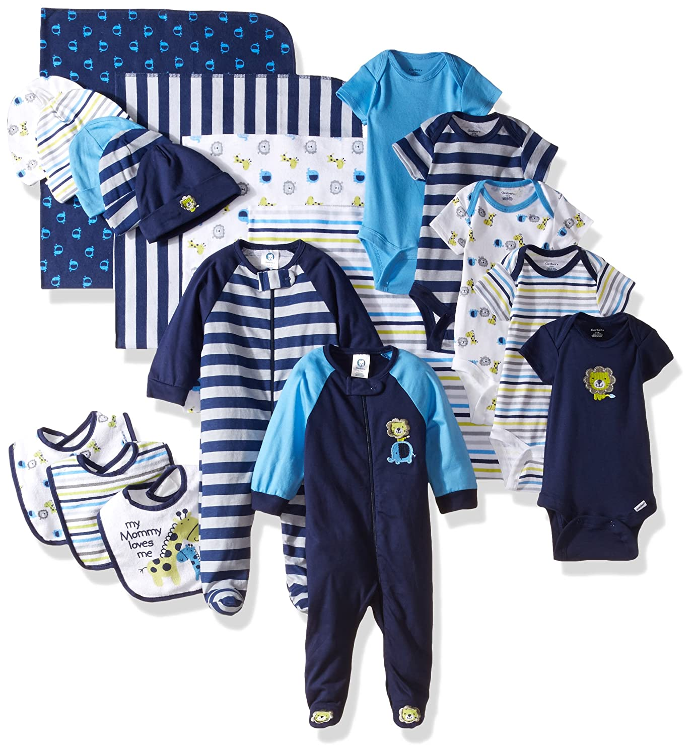 Gerber Baby Boys' 19 Piece Essentials Gift Set Safari Newborn Gerber Children' s Apparel 95792016AB17AST