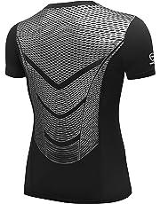 AMZSPORT Maglia a Manica Corta Compression da Uomo Sport Baselayer Asciugatura  Rapida T-Shirt af2816b768a3
