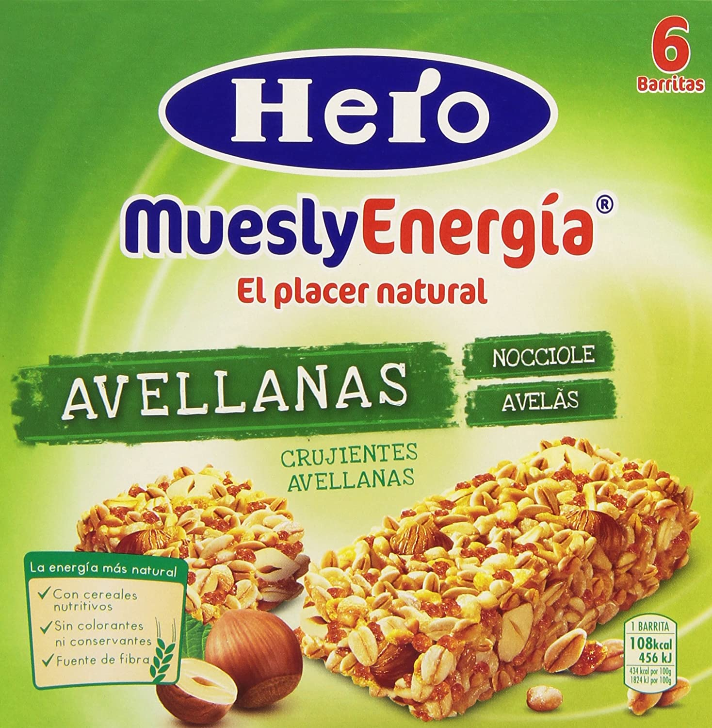 Barrita Hero Muesly Energía Avellanas - Pack de 6 x 25 g - Total: 150 g: Amazon.es: Amazon Pantry