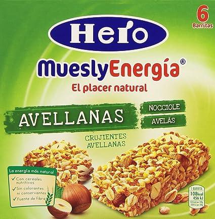 Barrita Hero Muesly Energía Avellanas - Pack de 6 x 25 g - Total: 150
