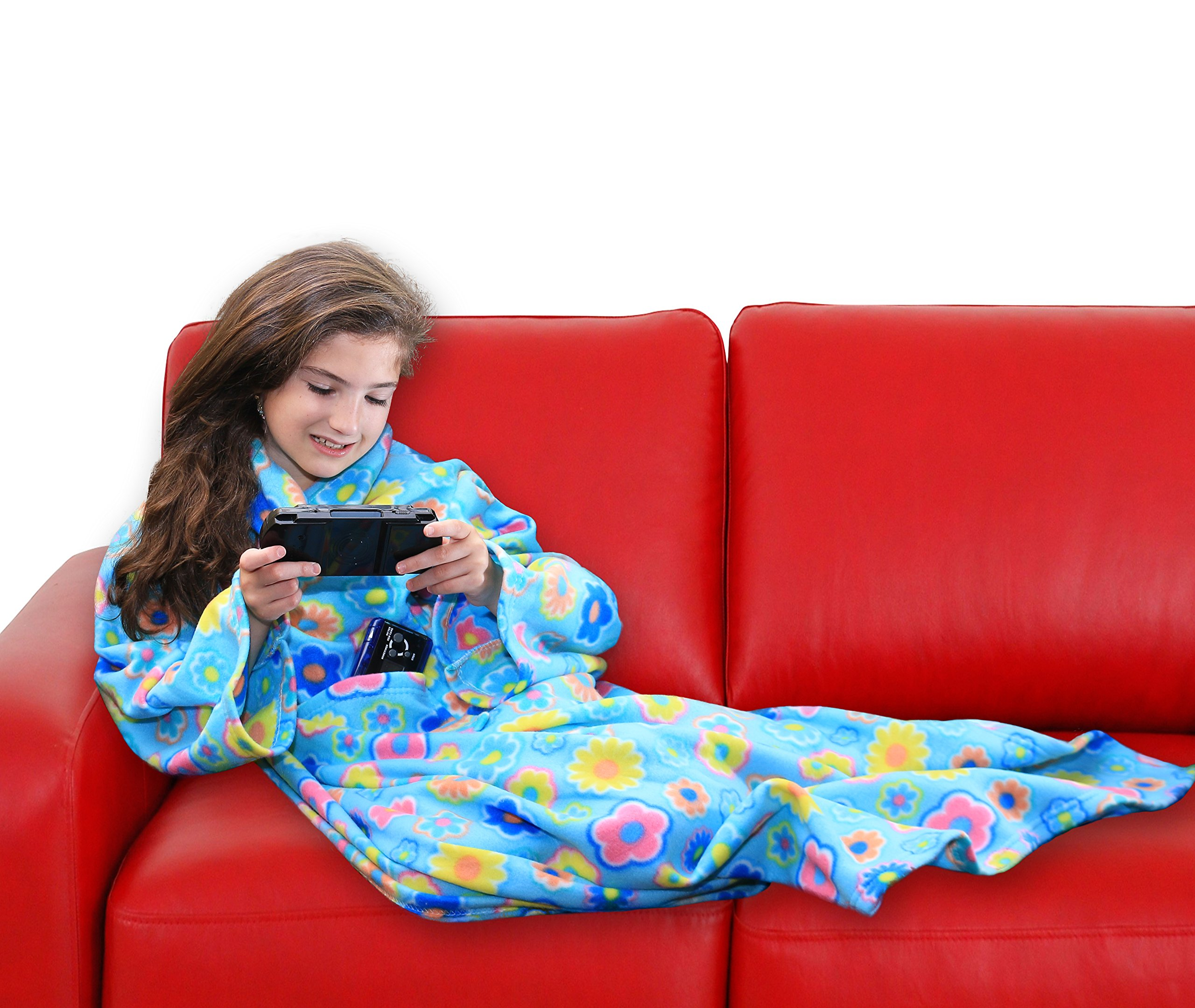 DG Sport Wearable Fleece Blanket for Kids with Sleeves and Pockets   Luxuriously Soft & Non-Irritating Fabric   Machine Washable   Cute Snuggle Couch Throw Cozy Cover for Boys and Girls (FLOWR)