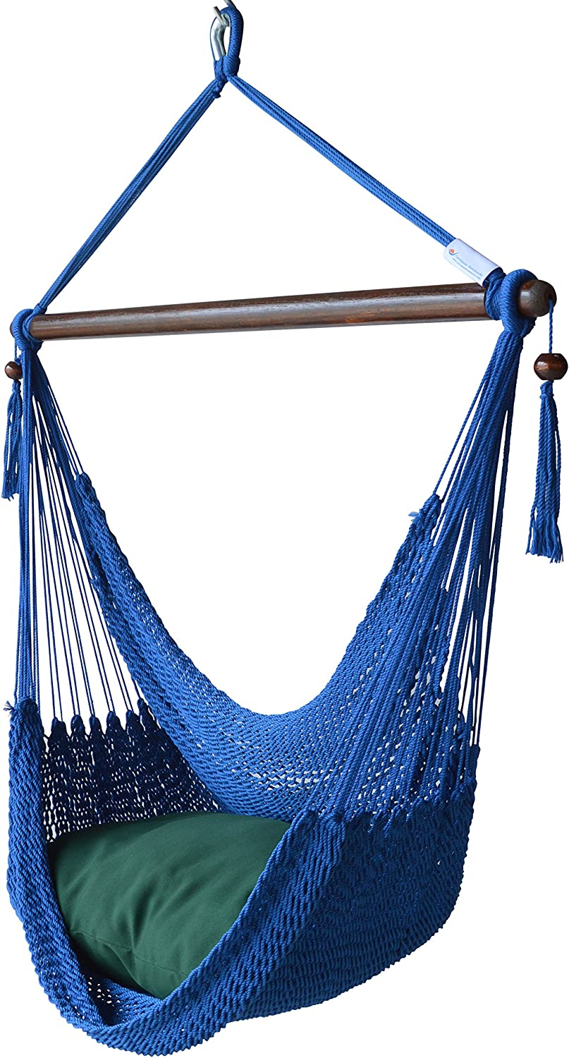 Caribbean Hammocks Hammock Chair with Footrest - 40 inch - Dark Blue - 200 lbs Weight Capacity