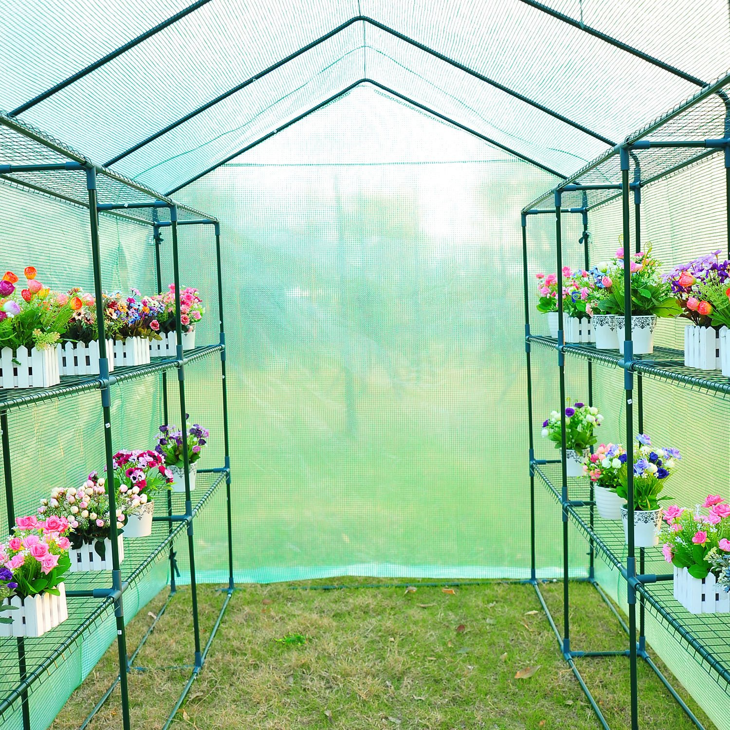 Outsunny 8' x 6' x 7' Outdoor Portable Walk-in Greenhouse by Outsunny (Image #9)