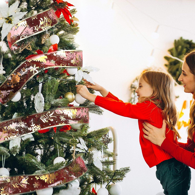 5,48m Cintas Variadas Lisa Cinta Navidad Envolver Tul de Brillo 6cm de Ancho Manualidades Brillante Decorativa Cintas de Organza para /Árbol Navidad Transparente Pack de 6