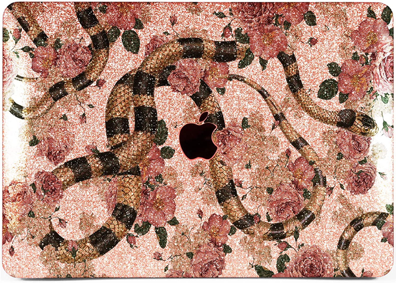 """Cavka Hard Glitter Case for Apple MacBook Pro 13"""" 2019 Retina 15"""" Mac Air 11"""" Mac 12"""" Bling Cute Print Cover Glossy Design Silver Sparkly Art Snake Shiny Flowers Rose Gold Chic Luxury Blossom Reptile"""