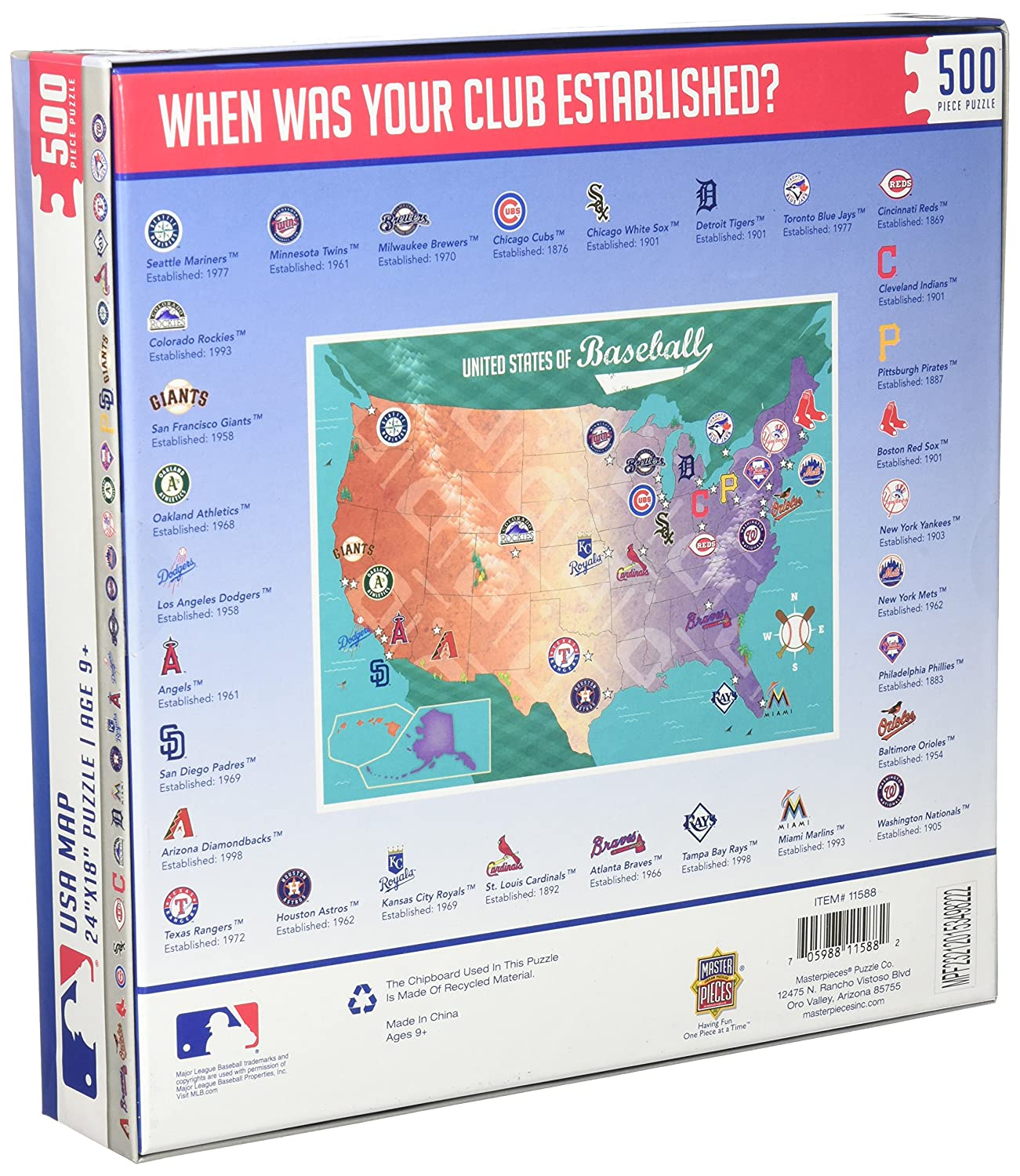 Amazoncom MasterPieces MLB Map Jigsaw Puzzle Piece Toys - Chicago map puzzle