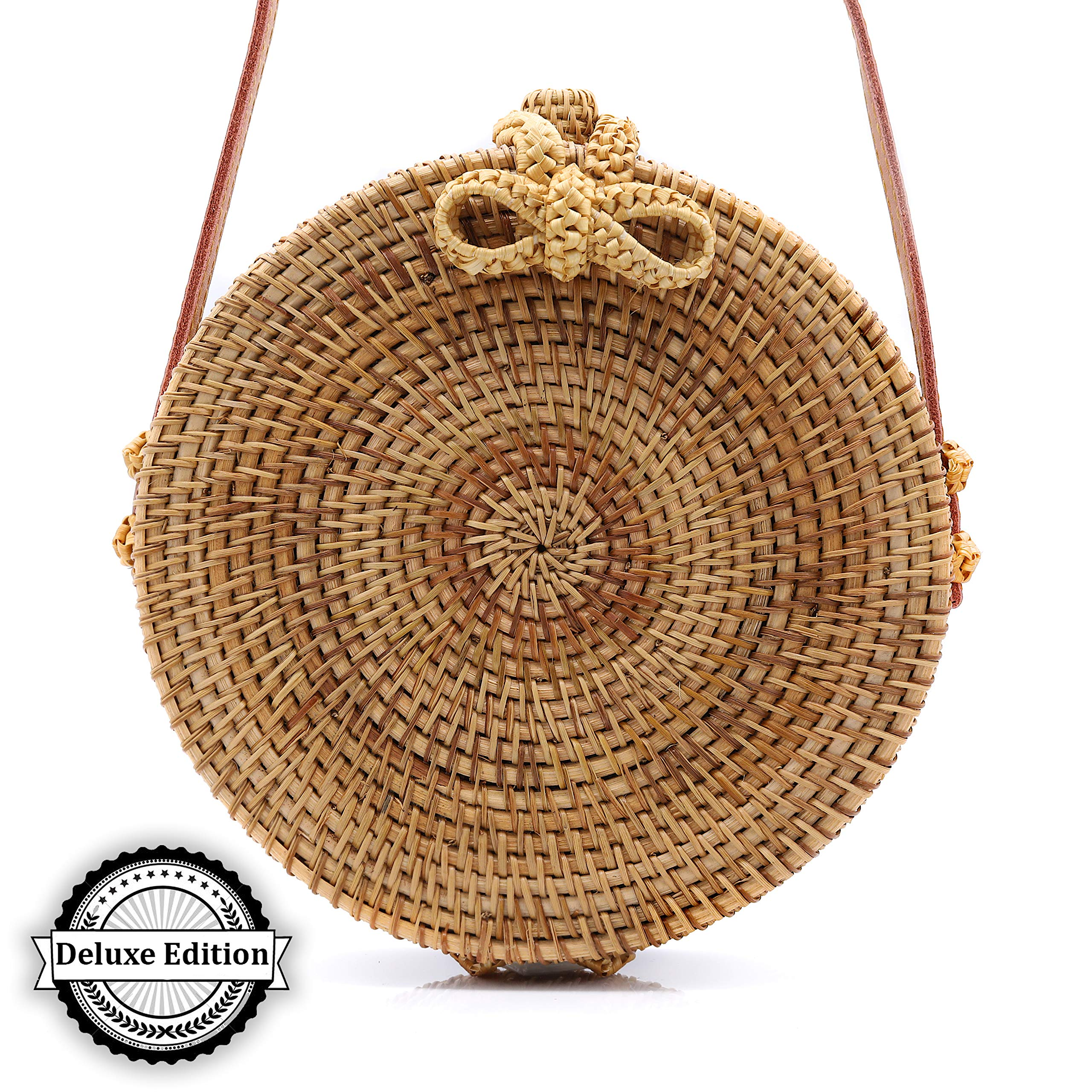 RATTAN NATURALS Handwoven Round Rattan Crossbody Bag| DELUXE EDITION | Round Straw Bag for Women | Genuine 100% Leather Shoulder straps | Straw purse For Women | Boho bag | Straw Handbag for Women by Rattan Naturals (Image #2)
