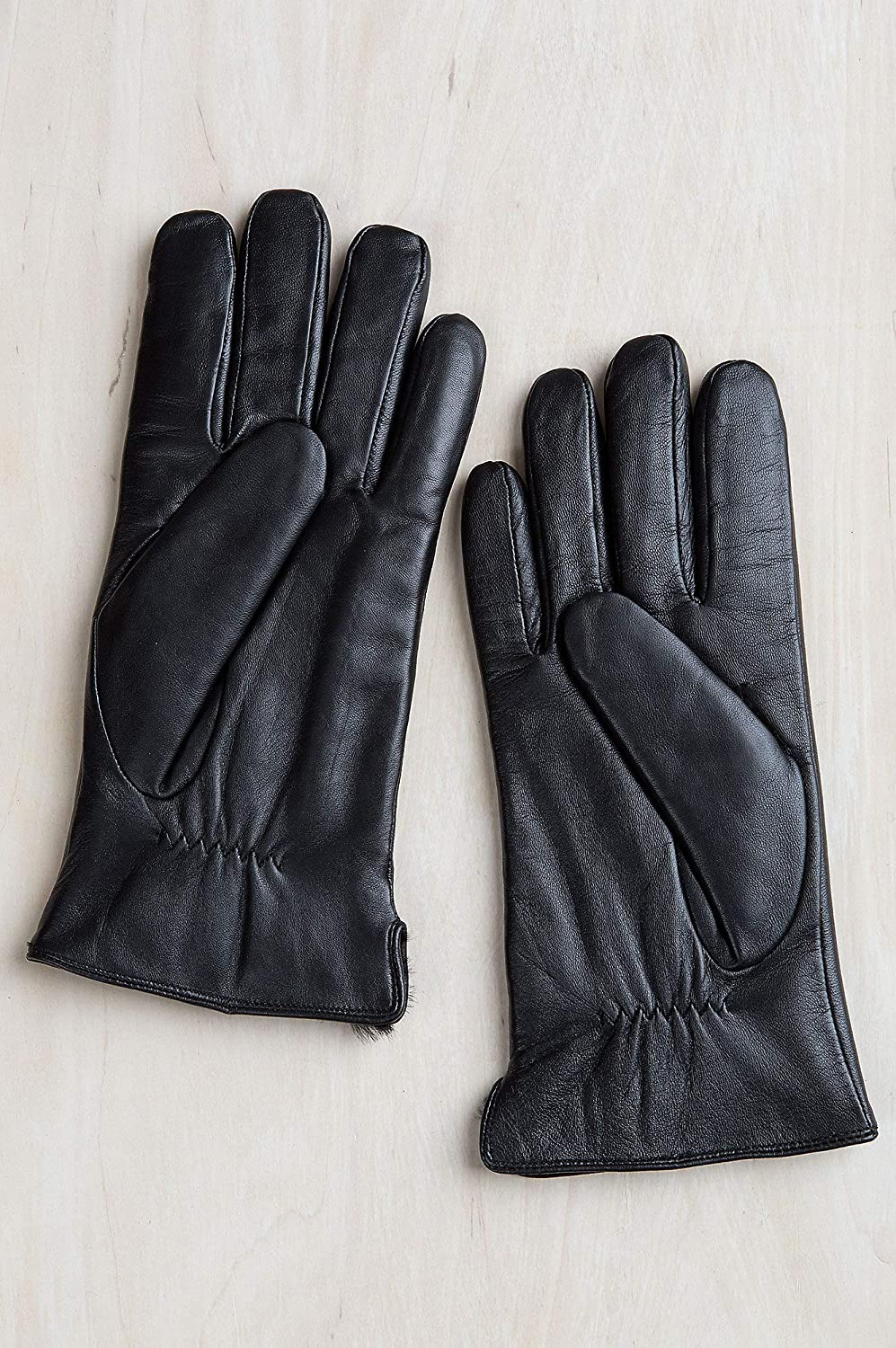Mens Willow Rabbit Fur-Lined Lambskin Leather Gloves