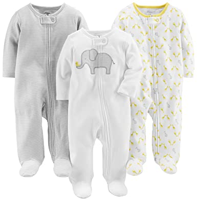 Amazon Com Simple Joys By Carter S Baby 3 Pack Sleep And Play Clothing