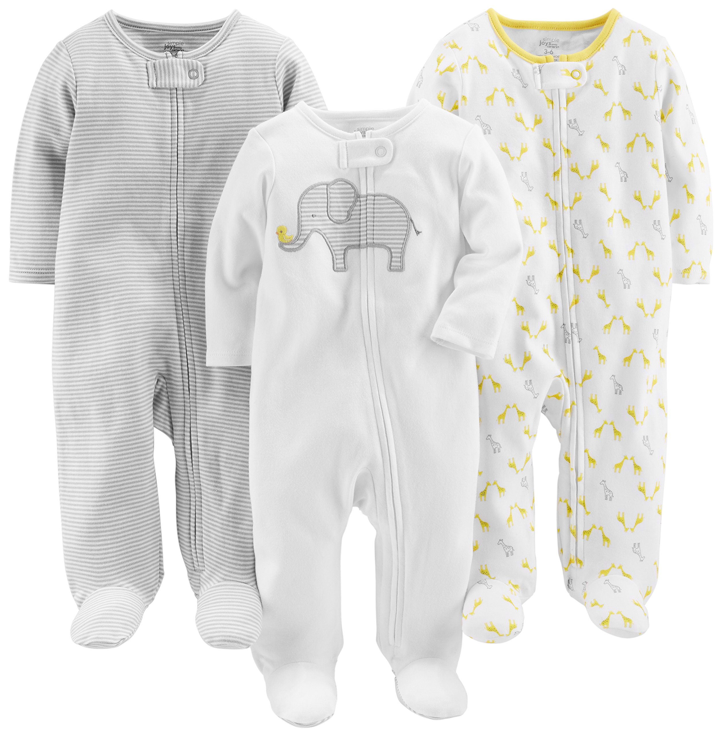 Simple Joys by Carter's Baby 3-Pack Neutral Sleep and Play, Elephant, Stripe, Giraffe, 3-6 Months