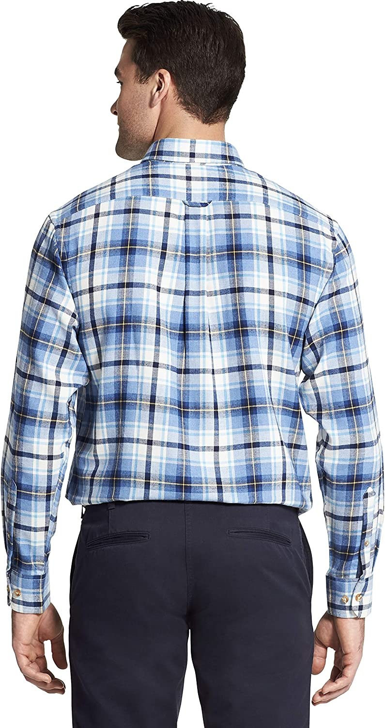 IZOD Mens Stratton Long Sleeve Button Down Plaid Flannel Shirt