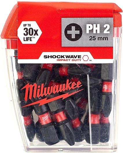 Milwaukee 25 Pack PZ2 25 mm Pozi Shockwave Impact Duty Tournevis bits TIC TAC