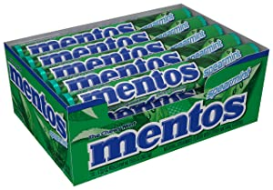 Mentos Chewy Mint Candy Roll, Spearmint, Non Melting, Party, 14 Pieces (Bulk Pack of 15)
