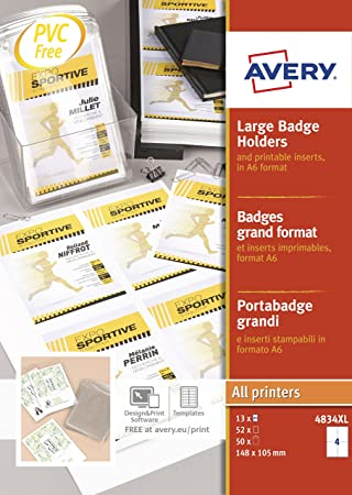 avery badges plus 50 52 printable inserts 148x105 mm clear
