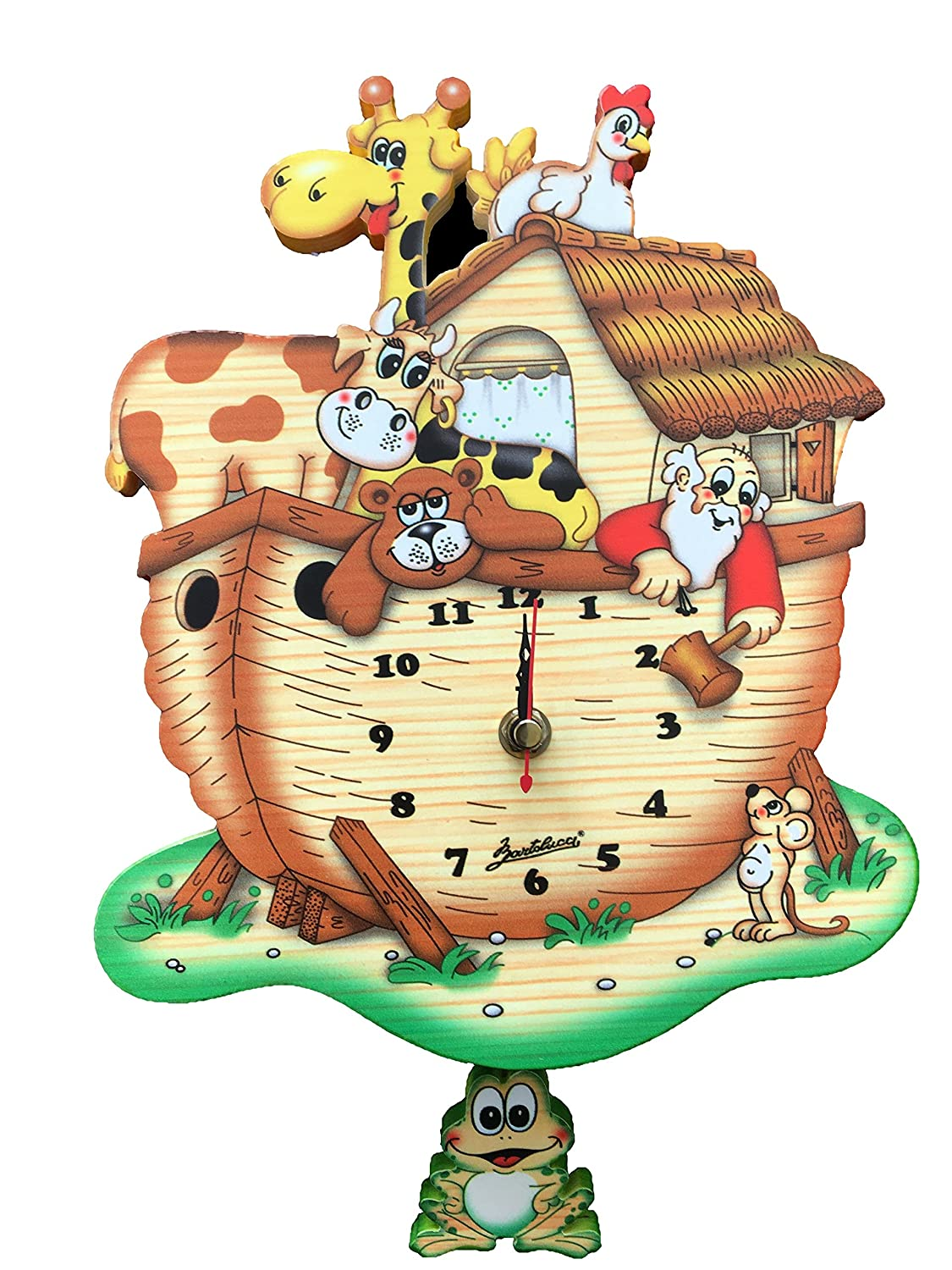 Noah's Ark Wall Clock with Frog Pendulum for Nursery/Childrens Room - Bartolucci