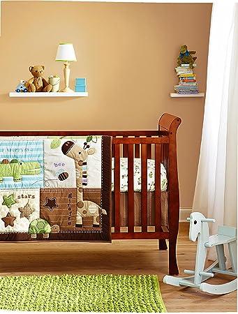 Cute Safari Baby 8 Pieces Nursery Cot Bedding Set With Diaper