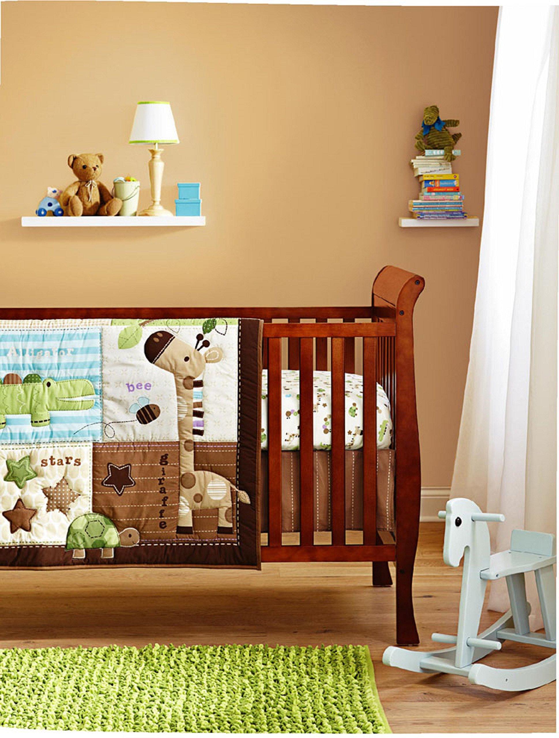 Cute Safari Neutral Baby Boy 8 Pieces Nursery Crib Bedding