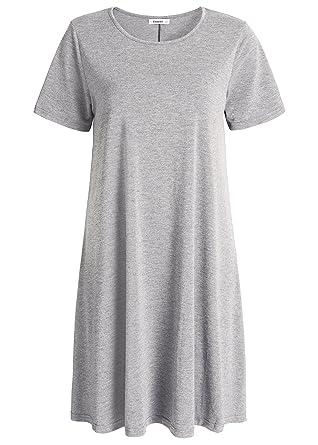 ebc23eb1e9e1 Esenchel Women s Swing T-Shirt Dress Short Sleeve Casual Dress S Royal Blue