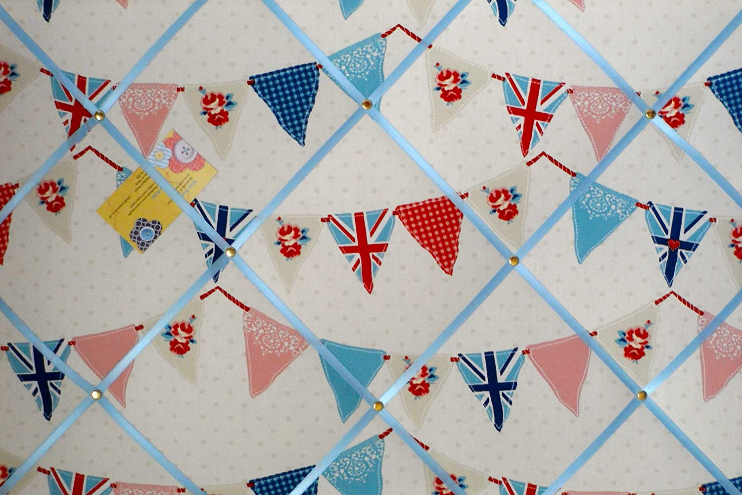 Large Fryetts Union Jack Blue Bunting / Flag Hand Crafted Fabric Notice / Pin / Memo Board Rosey Rose