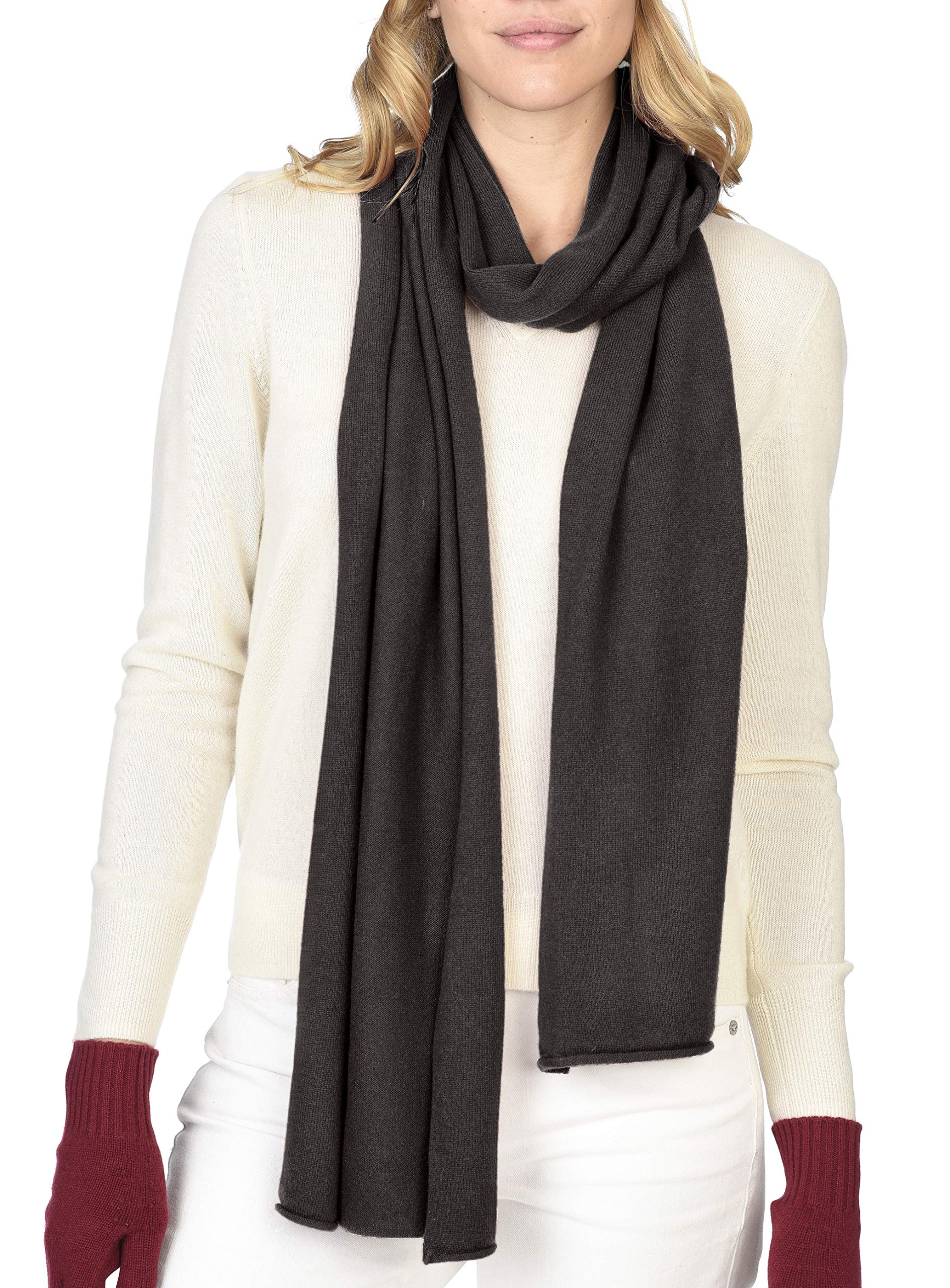 State Cashmere 100% Pure Cashmere Solid Color Scarf Wrap, Ultimate Soft and Cozy 80''x13.5'' (Black Coffee)