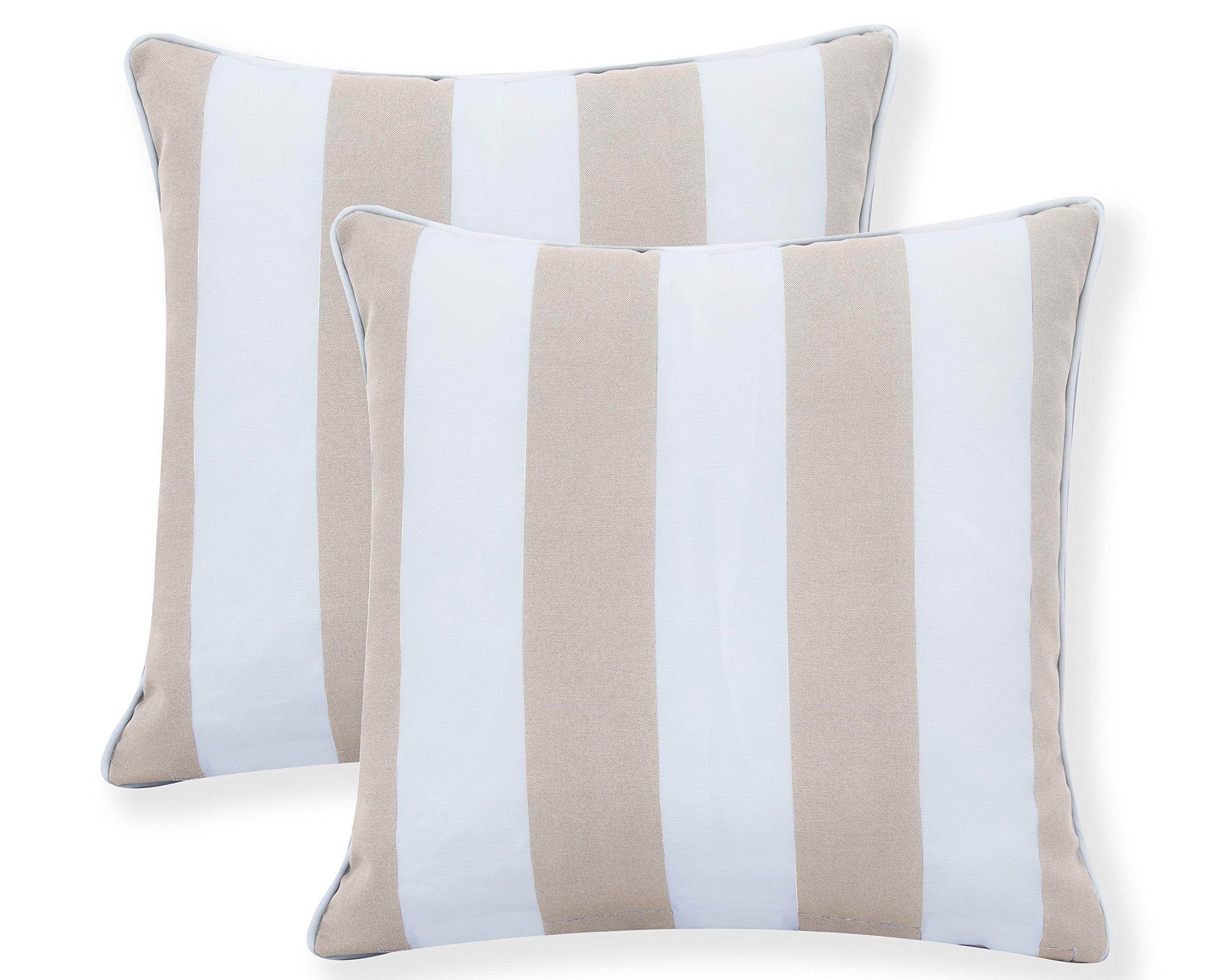 Decor Venue Water Resistant Indoor/Outdoor Square Patio Decorative Stripe Throw Pillow Cushion - Set of 2-18'' x 18'' - Beige