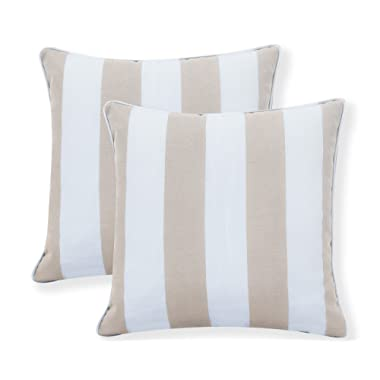 Ornavo Home Water Resistant Indoor/Outdoor Square Patio Decorative Stripe Throw Pillow Cushion - Insert Included - Set of 2 - 18  x 18  - Beige